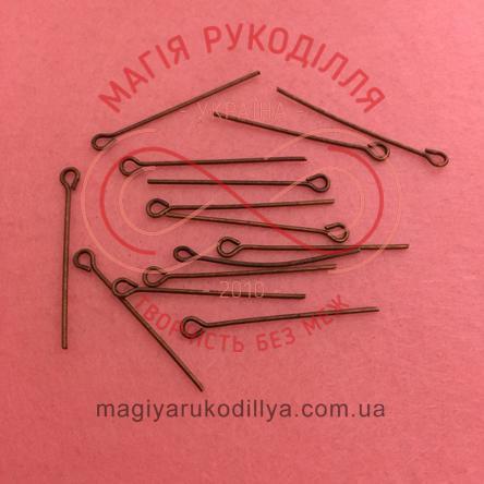 Піна-булавка біжутерна сталева 30мм - мідний