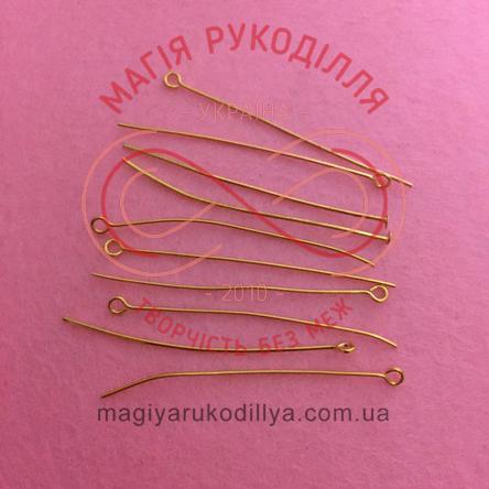 Піна-булавка біжутерна сталева 50мм - золотистий