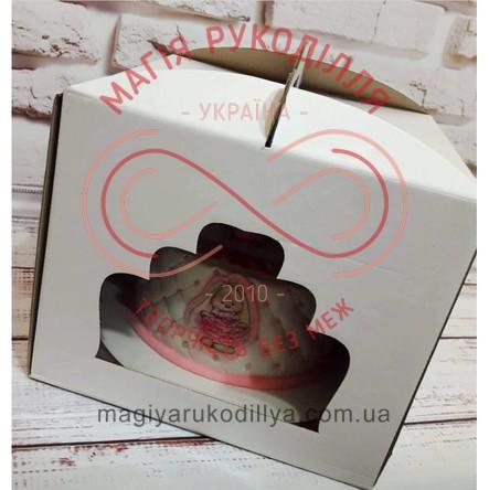 Кондитерська/подарункова коробка для торта з фігурним віконцем 300*300*250 - білий