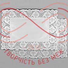 Кондитерська серветка мереживна прямокутна 20см*30см- білий