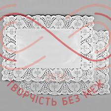 Кондитерська серветка мереживна прямокутна 35см*45см - білий