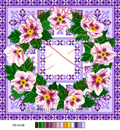 Схема на канві для вишивання хрестиком подушка - П3-14-28