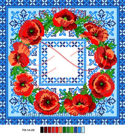 Схема на канві для вишивання хрестиком подушка - П3-14-29