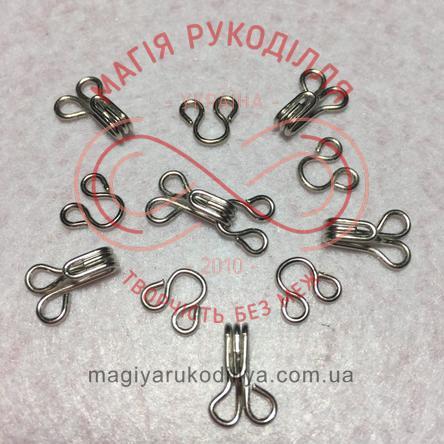 Гачок для одягу пришивний розмір №3 - сріблястий