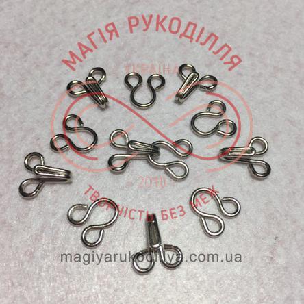 Гачок для одягу пришивний розмір №4 - сріблястий
