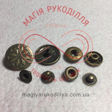 Кнопка вставна d19мм (4 складових) - бронзовий