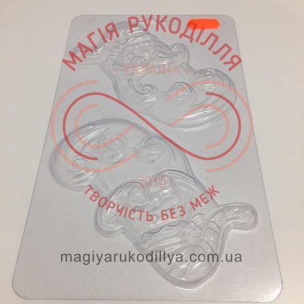 Кондитерська пластикова форма прозора 12см*6,5см*0,7см/основа 22,2см*13см - С2-045 Санта Клаус