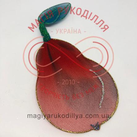 Прикраса для гардини груша (дріт+нейлон) - червоно-бордовий