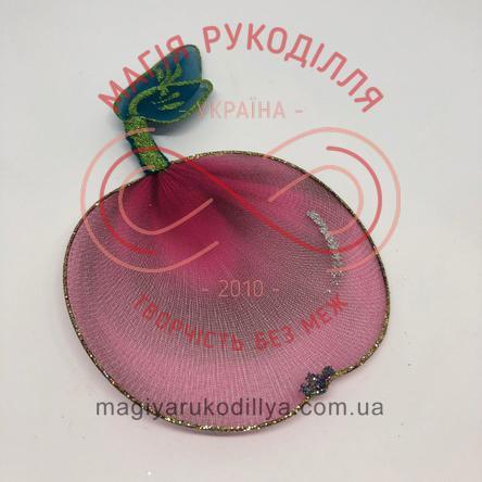 Прикраса для гардини яблуко (дріт+нейлон) - рожево-бордовий