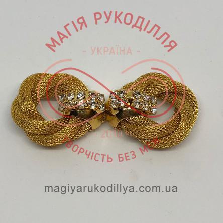 Декоративна застібка зі стразами металева (дві частини) - золотистий