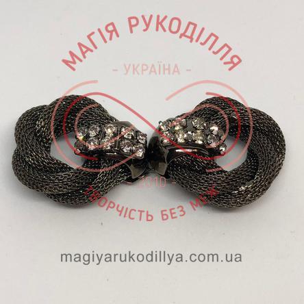Декоративна застібка зі стразами металева (дві частини) - чорний