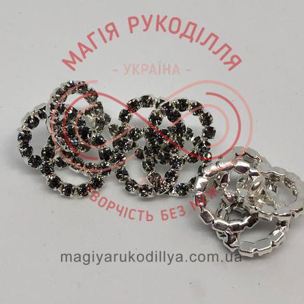 Гудзик декоративний металевий зі стразами на ніжці d2см - сріблястий+чорні стрази