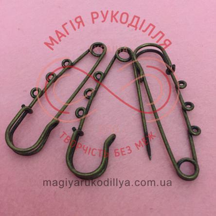 """Основа для брожки булавка декоративна """"3 петлі"""" довжина 6,5см - бронзовий"""