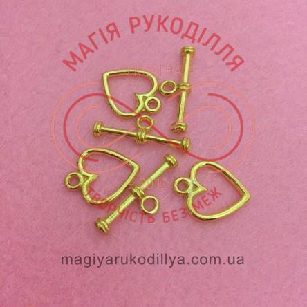 Підвіска серденько (набір - 2 складові) - золотистий