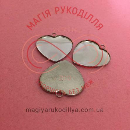 Основа під кулон/сережки серденько - сріблястий