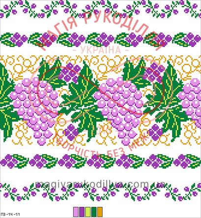 Схема на канві для вишивання хрестиком подушка - П3-14-11