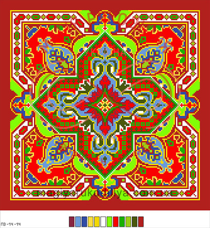 Схема на канві для вишивання хрестиком подушка - П3-14-14