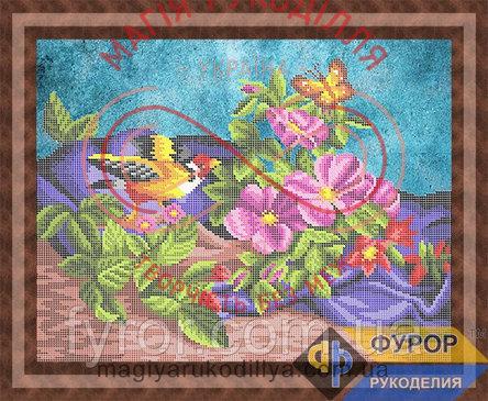 Схема для вишивання бісером картина - НБч3-109 Пташка серед квітів