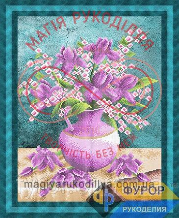 Схема для вишивання бісером картина - НБч3-105 Рожево-бузковий букет