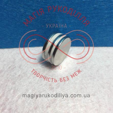 Магніт неодимовий d20мм h2мм - сріблястий