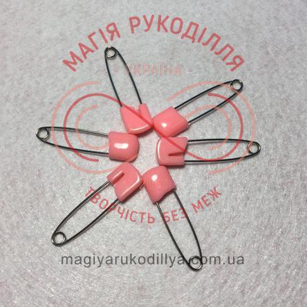 Шпилька англійська Pony пластикова застібка 4см - рожевий