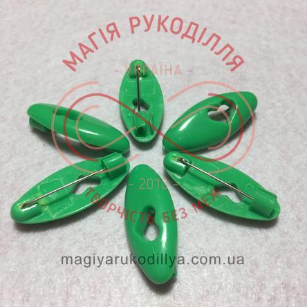 Шпилька англійська пластикова основа 4см серце - зелений