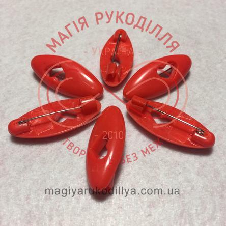 Шпилька англійська пластикова основа 4см серце - червоний