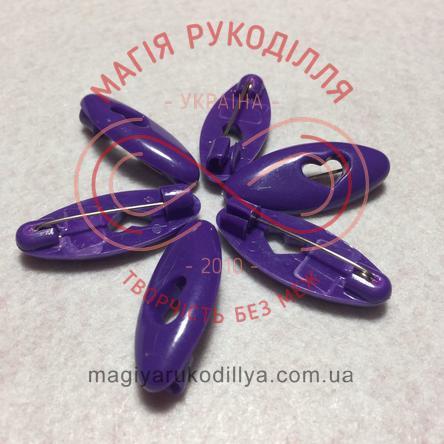Шпилька англійська пластикова основа 4см серце - фіолетовий