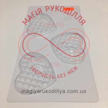 Кондитерська пластикова форма прозора 3фігури /основа 23см*12см - В3-053 Ведмежатко на серденьку