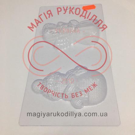 Кондитерська пластикова форма прозора 2фігури /основа 22,8см*12см - В2-065 Ангелятко і сніговичок