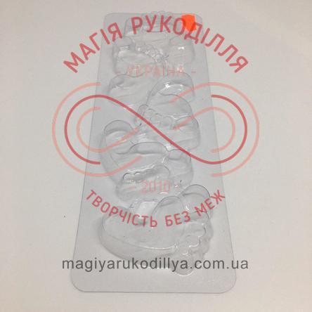 Кондитерська пластикова форма прозора 5фігур /основа 27,3см*8,6см - В5-034 П'яточки