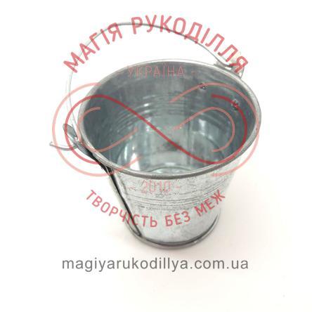 Відерце декоративне металеве з ручкою d5,7см h5,2см - сталевий