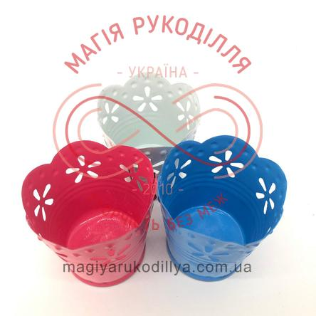 Відерце декоративне металеве з квітковим орнаментом d6см h5,5-6см - білий, рожевий, синій