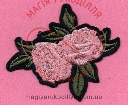 Термоаплікація 7.7см*6,3см - квіти троянд рожевий