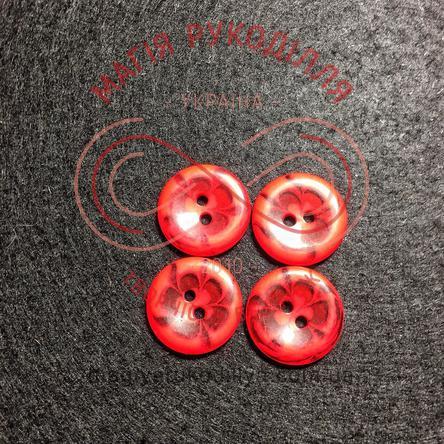 Гудзик дитячий прошивний малюнок квітка d16мм - червоний