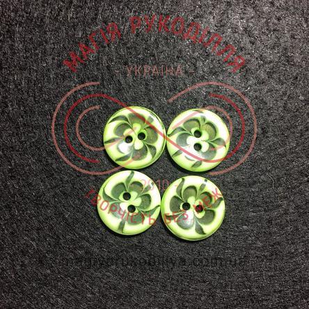 Гудзик дитячий прошивний малюнок квітка d16мм - салатовий