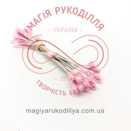 Тичинки-краплинки на дротику двосторонні d3-4мм h6см 1в'язочка/20шт - №407 рожевий перлистий