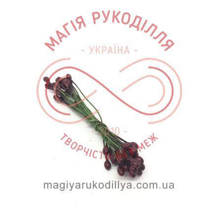 Тичинки-краплинки на дротику двосторонні d3-5мм h6см 1в'язочка/20шт - №417 винний перлистий