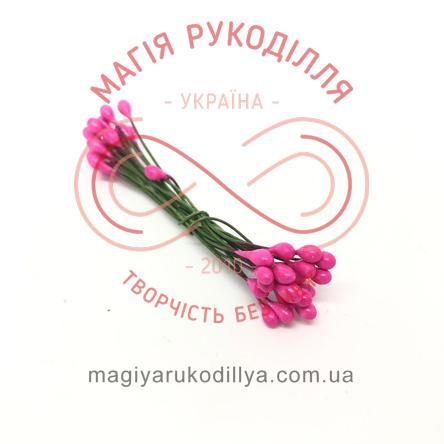 Тичинки-краплинки на дротику двосторонні d3-5мм h6см 1в'язочка/20шт - №422 рожевий перлистий