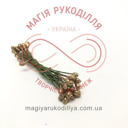 Тичинки-краплинки на дротику двосторонні d3-5мм h6см 1в'язочка/20шт - №436 золотистий перлистий