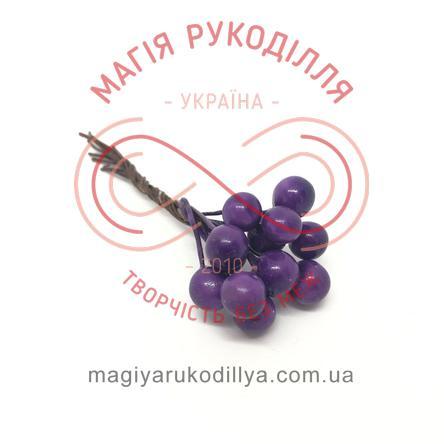 Тичинки-ягідки на дротику d5-7мм h6см 1в'язочка/12шт - фіолетовий перлистий