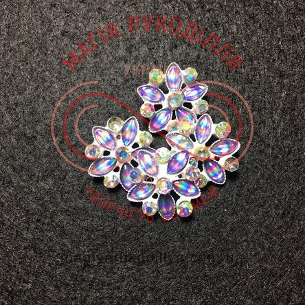 Гудзик декоративний d28L/18мм - квіти зі стразів