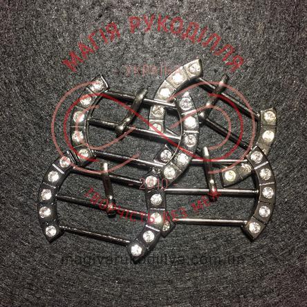 Пряжка овальна d4см*3см - метал антік+стрази