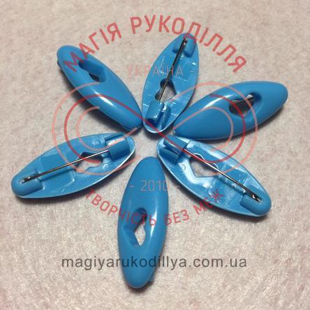 Шпилька англійська пластикова основа 4см серце - блакитний