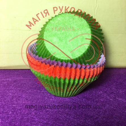Кондитерская бумажная форма для кекса d5см h3см - оранжевый, салатовый, фиолетовый
