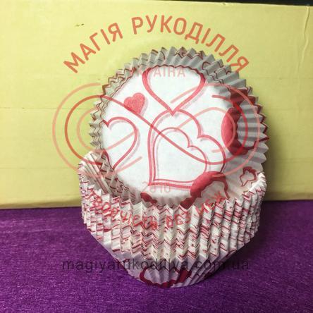 Кондитерская бумажная форма для кекса d5см h3см - белый красные сердечки