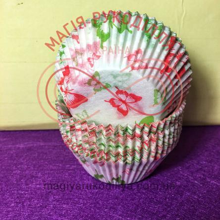 Кондитерская бумажная форма для кекса d5см h3см - белый с красными, зелеными бабочками