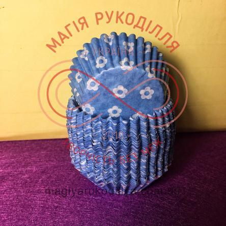 Кондитерская бумажная форма для кекса d4см h2см - синий белые цветки