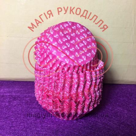 Кондитерская бумажная форма для кекса d4см h2см - розовый белые сердечки