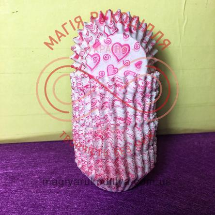 Кондитерская бумажная форма для кекса d4см h2см - белый розовые сердечки
